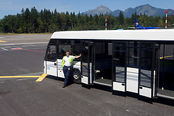 Bus driver at arrival of team Slovenia at the end of European Athletics Championships Barcelona 2010 to Slovenia, on August 2, 2010 at Airport Joze Pucnik, Brnik, Slovenia. (Photo by Vid Ponikvar / Sportida)