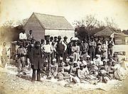 Slaves of  Thomas F Drayton of Magnolia  Plantation, Hilton Head, South Carolina, 1862. During the American Civil War, (1861-1865) Drayton, a Southern plantation owner, served as a Brigadier General in the Confederate Army .