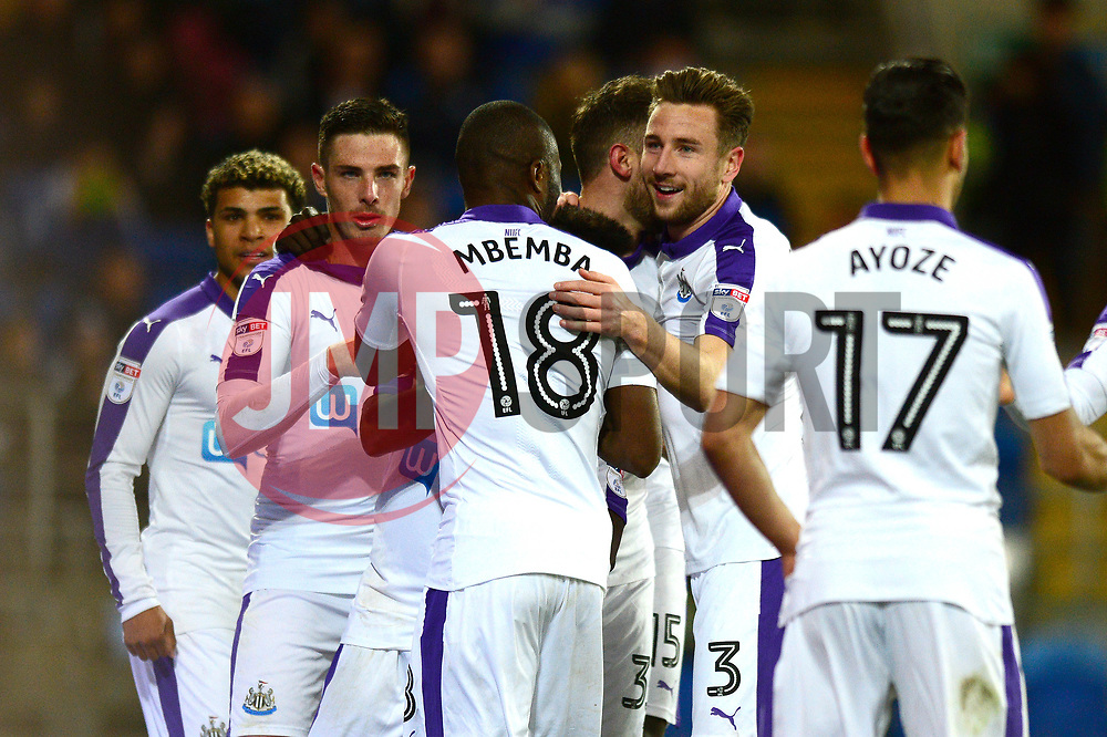 Christian Atsu of Newcastle United celebrates his goal with team mates - Mandatory by-line: Dougie Allward/JMP - 28/04/2017 -  FOOTBALL - Cardiff City Stadium - Cardiff, Wales -  Cardiff City v Newcastle United - Sky Bet Championship