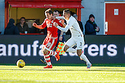 Aberdeen FC Midfielder Peter Pawlett on the attack chased by Hamilton Academical Defender Antons Kurakins during the Ladbrokes Scottish Premiership match between Hamilton Academical FC and Aberdeen at New Douglas Park, Hamilton, Scotland on 22 November 2015. Photo by Craig McAllister.