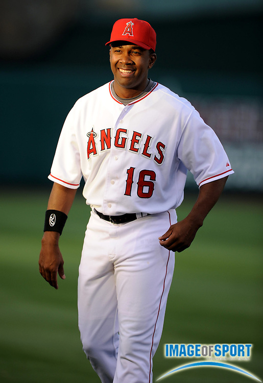 Apr 29, 2007; Anaheim, CA, USA; Los Angeles Angels designated hitter Garret Anderson (16) before game against the Oakland Athletics at Angel Stadium. Mandatory Credit: Kirby Lee/Image of Sport-US PRESSWIRE