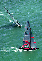 ALINGHI EXTENDING THEIR LEAD AS TEAM NEW ZEALAND GYBE.
