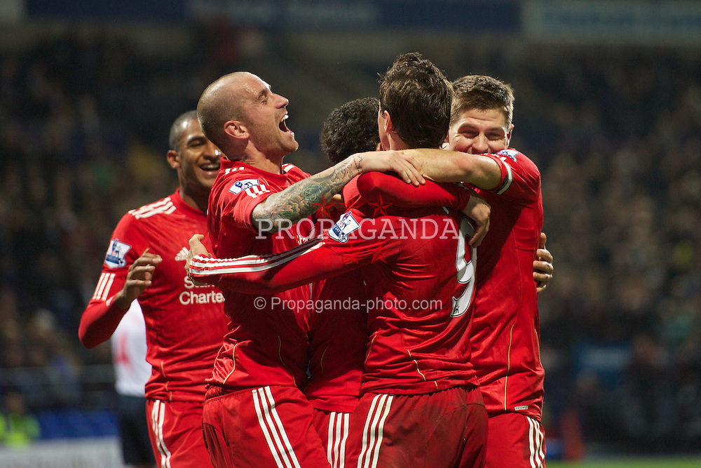 BOLTON, ENGLAND - Sunday, October 31, 2010: Liverpool's Maximiliano Ruben Maxi Rodriguez celebrates scoring the winning goal against Bolton Wanderers with team-mates Raul Meireles, captain Steven Gerrard MBE and Fernando Torres during the Premiership match at the Reebok Stadium. (Pic by: David Rawcliffe/Propaganda)