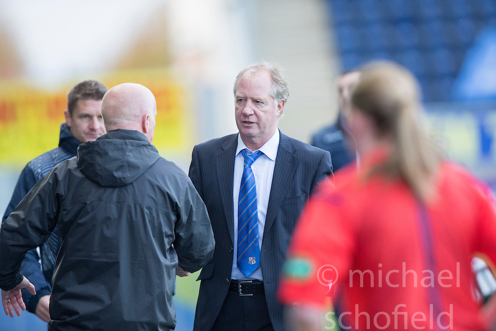 Cowdenbeath's manager Jimmy Nicholl and Falkirk's manager Peter Houston at the end.<br /> Falkirk 6 v 0 Cowdenbeath, Scottish Championship game played at The Falkirk Stadium, 25/10/2014.