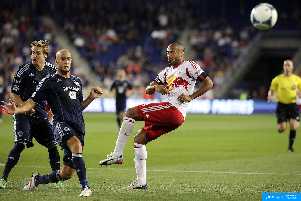 Thierry Henry, New York Red Bulls, shoot during the New York Red Bulls V Sporting Kansas City, Major League Soccer regular season match at Red Bull Arena, Harrison, New Jersey. USA. 17th April 2013. Photo Tim Clayton