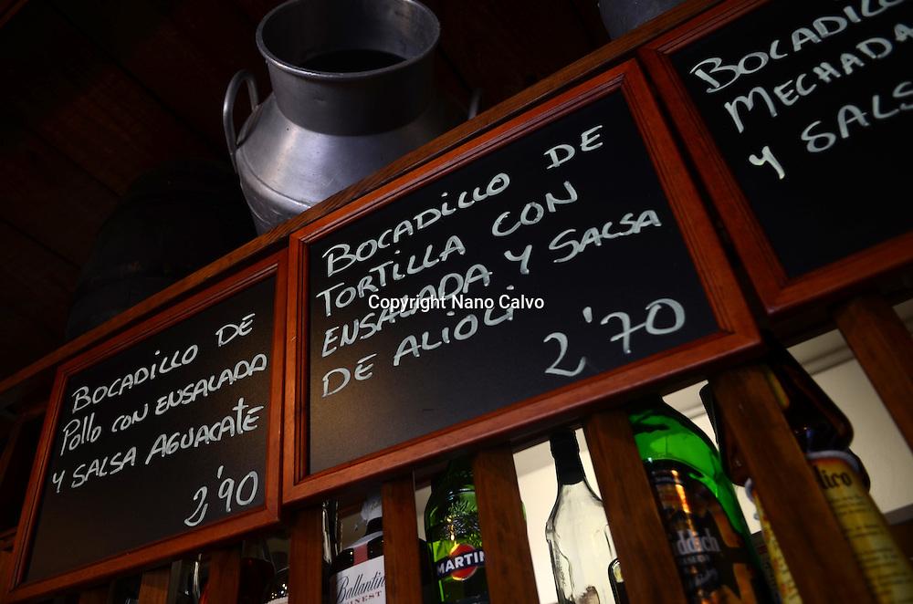 Signs on blackboards in restaurant, Tenerife, Canary Islands, Spain