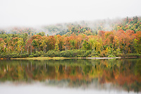 Echo Lake Morning Fog & Fall Color, Charleston, Vermont