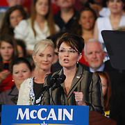 Sarah Palin speaks at John McCain Rally in Michigan<br /> Republican Vice Presidential nominee Sarah Palin speaks at rally in Sterling Heights, MI.