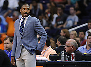 Apr 7, 2013; Phoenix, AZ, USA; Phoenix Suns head coach Lindsey Hunter stands on the sidelines during the game against the New Orleans Hornets at US Airways Center. The Hornets defeated the Suns 95-92. Mandatory Credit: Jennifer Stewart-USA TODAY Sports