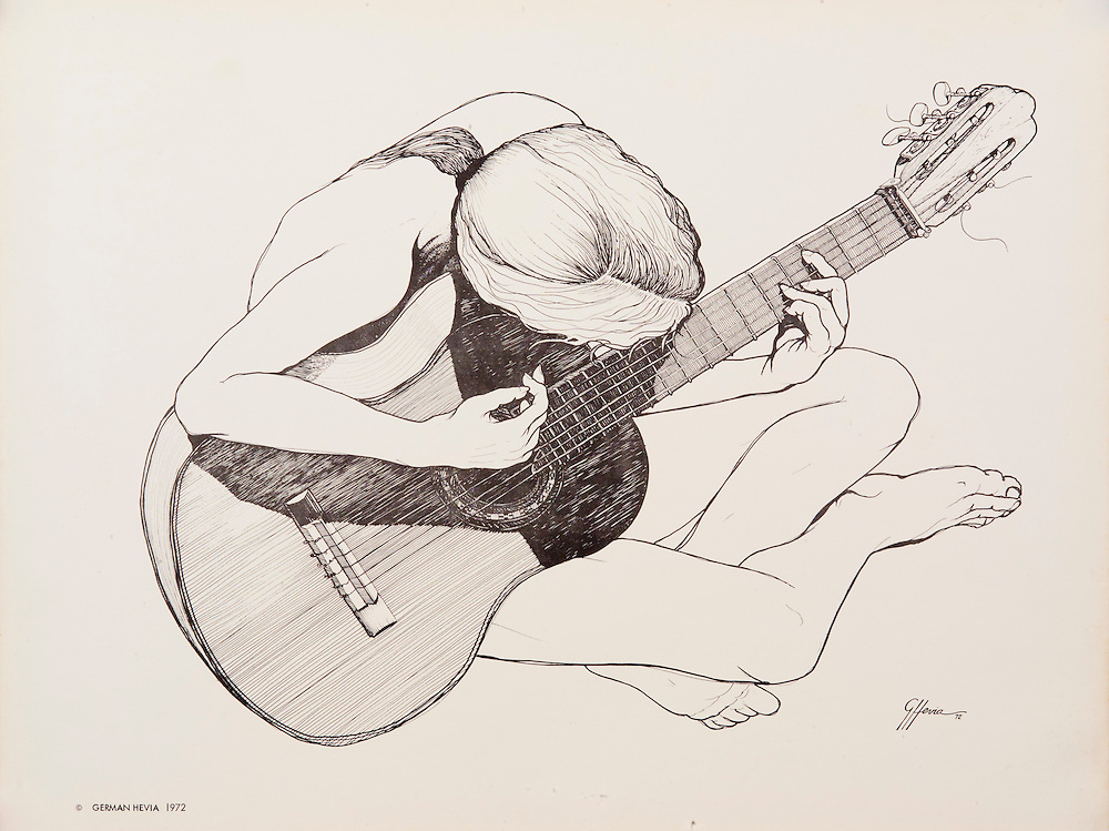 Cat.#3 Lithographic print of Pen and Ink drawing of a girl playing a guitar. <br />