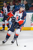 KELOWNA, CANADA - NOVEMBER 30: Edson Harlacher D #29 of the Kamloops Blazers skates with the puck during up against the Kelowna Rockets on November 30, 2013 at Prospera Place in Kelowna, British Columbia, Canada.   (Photo by Marissa Baecker/Shoot the Breeze)  ***  Local Caption  ***