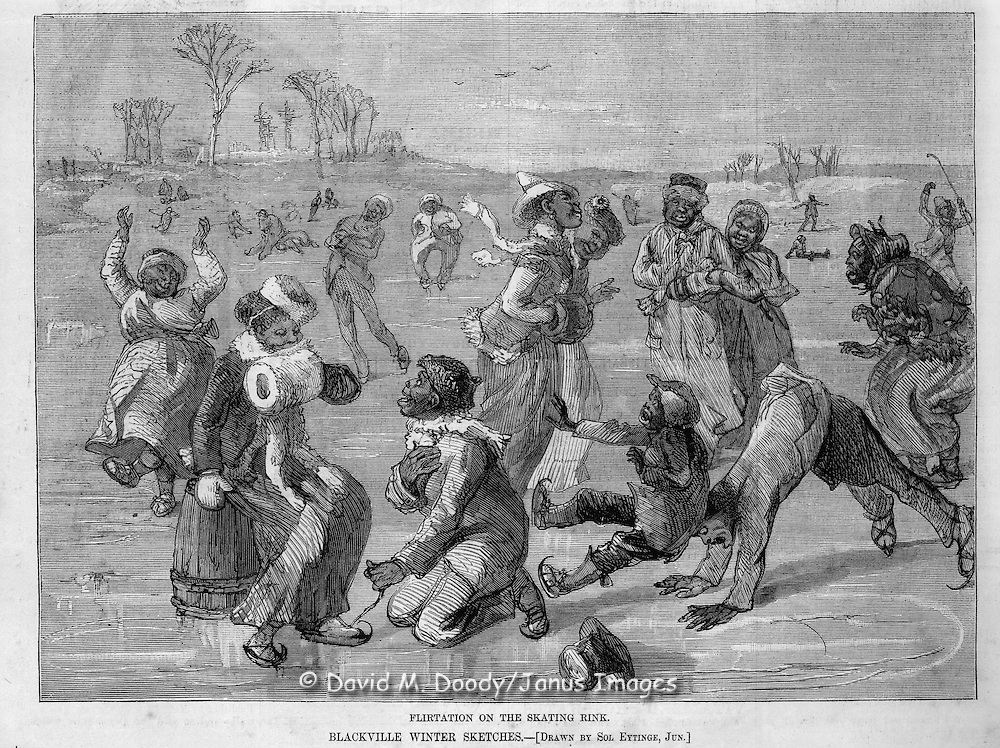 """Flirtation on the skating rink"" Blackville sketches in winter Harper's Weekly March, 1879 page  452 race relations, minority, black, African-American"