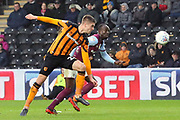 Hull City midfielder Markus Henriksen (22) heads the ball towards goal  during the EFL Sky Bet Championship match between Hull City and Aston Villa at the KCOM Stadium, Kingston upon Hull, England on 31 March 2018. Picture by Mick Atkins.