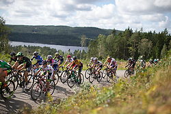 The front group rides near the top of the second categorised climb of Stage 3 of the Ladies Tour of Norway - a 156.6 km road race, between Svinesund (SE) and Halden on August 20, 2017, in Ostfold, Norway. (Photo by Balint Hamvas/Velofocus.com)
