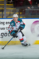 KELOWNA, CANADA - MARCH 7: Leif Mattson #28 of the Kelowna Rockets stops with the puck and looks for the pass against the Vancouver Giants  on March 7, 2018 at Prospera Place in Kelowna, British Columbia, Canada.  (Photo by Marissa Baecker/Shoot the Breeze)  *** Local Caption ***