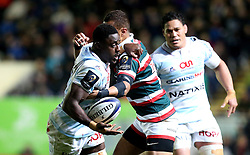 Yannick Nyanga of Racing 92 is tackled - Mandatory by-line: Robbie Stephenson/JMP - 23/10/2016 - RUGBY - Welford Road Stadium - Leicester, England - Leicester Tigers v Racing 92 - European Champions Cup