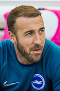 Glenn Murray (Brighton) on the bench after warming up before the Premier League match between Brighton and Hove Albion and Southampton at the American Express Community Stadium, Brighton and Hove, England on 24 August 2019.