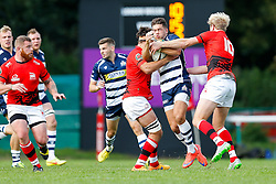 Bristol Rugby Inside Centre Ben Mosses is tackled by London Welsh Fly-Half Joe Carlisle - Mandatory byline: Rogan Thomson/JMP - 07966 386802 - 13/09/2015 - RUGBY UNION - Old Deer Park - Richmond, London, England - London Welsh v Bristol Rugby - Greene King IPA Championship.