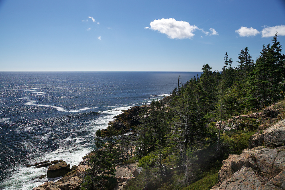 The quintessential rocky coastline of Acadia National Park, Maine on a beautiful summer day