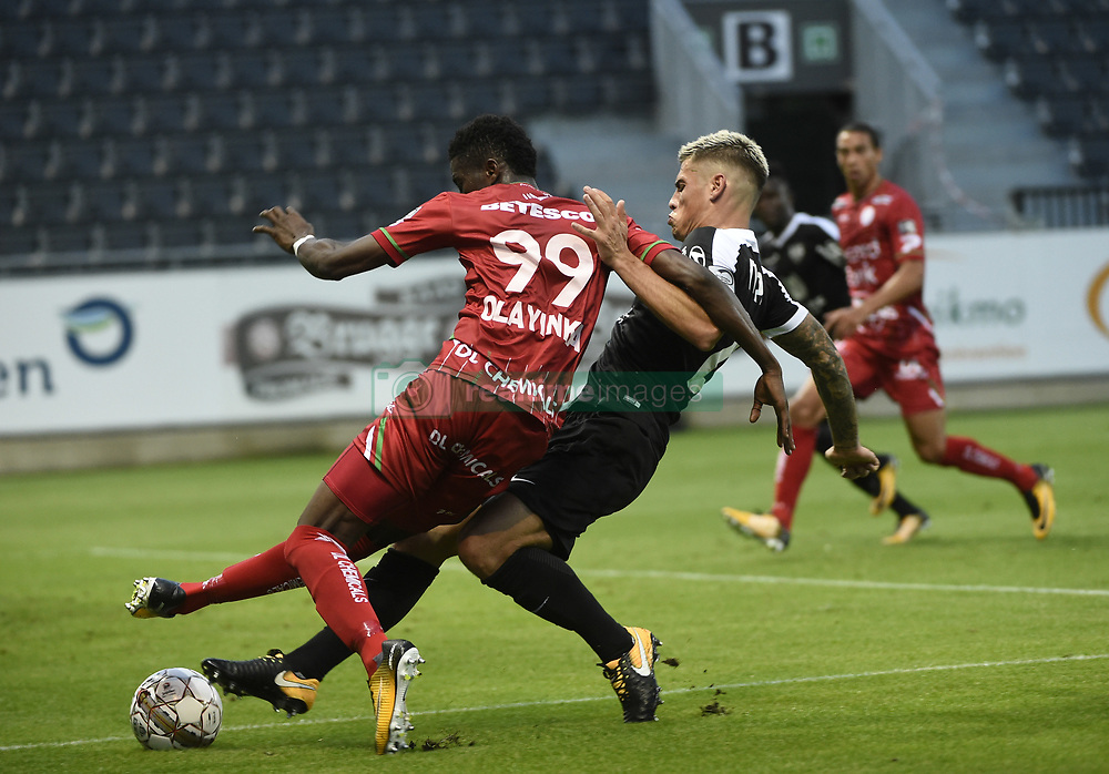 July 29, 2017 - Eupen, BELGIUM - Essevee's Peter Olayinka and Eupen's Mickael Tirpan fight for the ball during the Jupiler Pro League match between KAS Eupen and SV Zulte Waregem, in Eupen, Saturday 29 July 2017, on the first day of the Jupiler Pro League, the Belgian soccer championship season 2017-2018. BELGA PHOTO JOHN THYS (Credit Image: © John Thys/Belga via ZUMA Press)