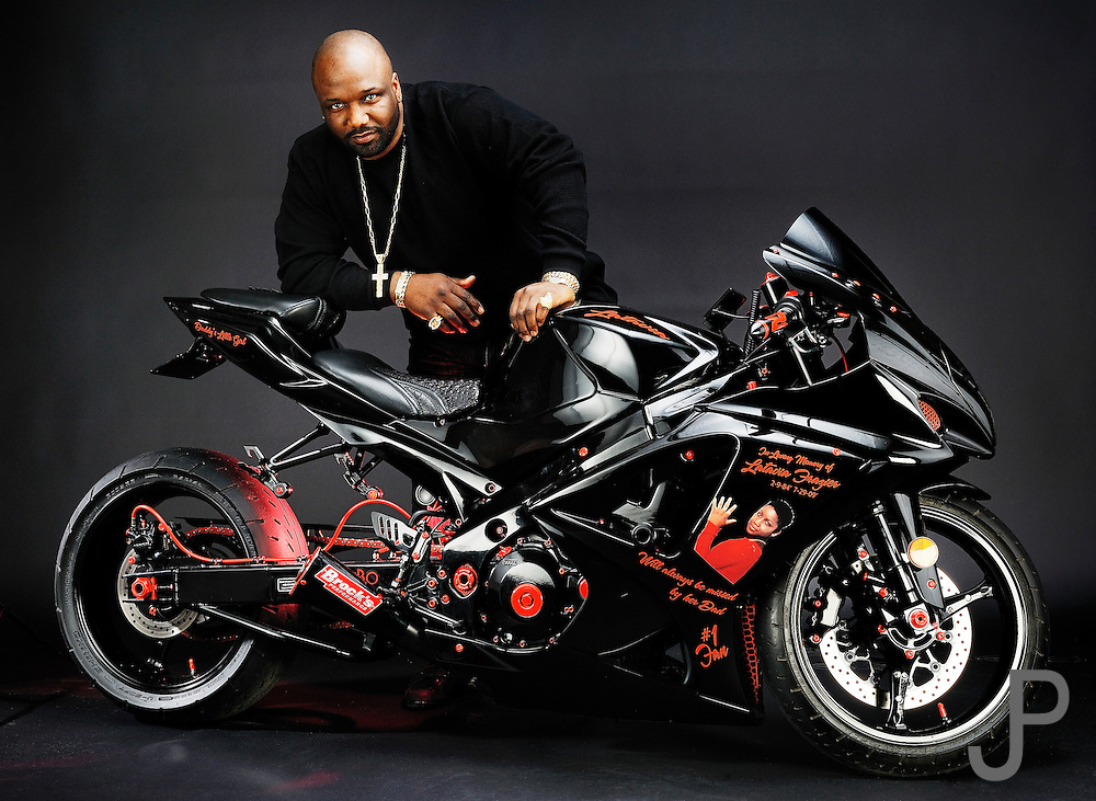 Derick Williams portrait with a custom stretched Suzuki GSXR-1000.  This is a tribute bike to his daughter who recently passed away.