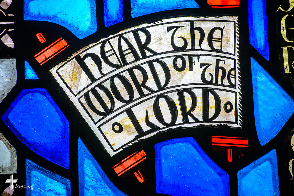 "Stained glass at Luther Memorial Chapel depicts ""hear the Word of the Lord"" on Friday, Jan. 29, 2016, in Shorewood, Wis. LCMS Communications/Erik M. Lunsford"