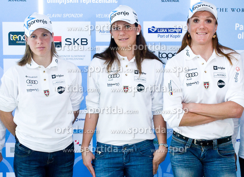 Slovenian Cross-country skiers Vesna Fabjan, Petra Majdic and Katja Visnar at the 4th OKS press club with Slovenian nordic Olympic Candidates for Vancouver 2010,  on October 08, 2009, in Telekom Slovenija, Ljubljana, Slovenia.   (Photo by Vid Ponikvar / Sportida)