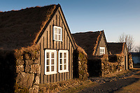 Skógar Museum in South Iceland. Old farmhouse, building matierial is wood, rocks and turf.