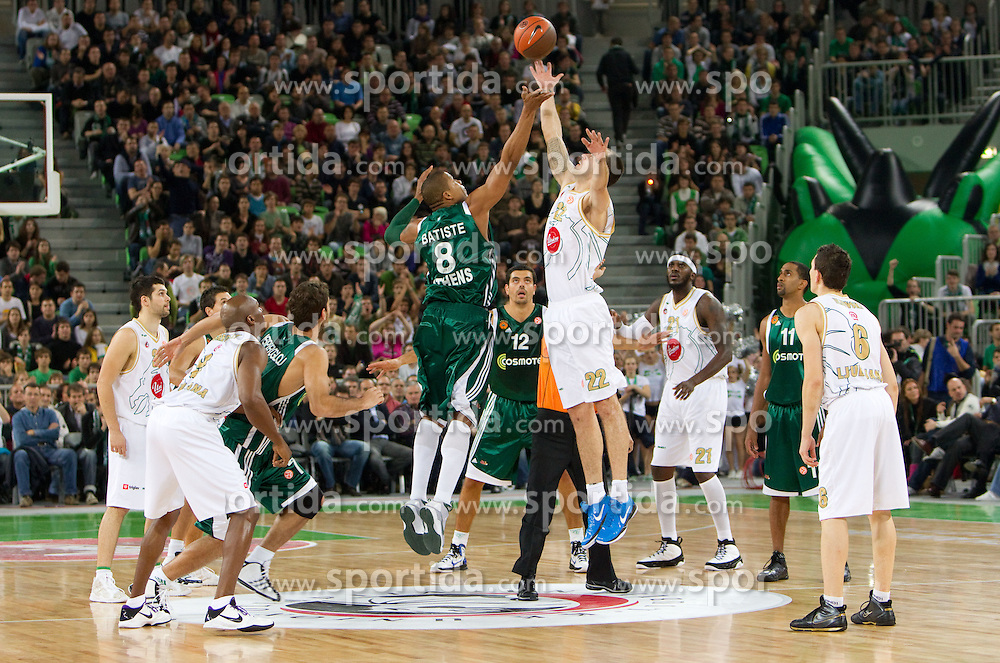 Mike Batiste of Panathinaikos vs Damir Markota (22) of Olimpija  during basketball match between KK Union Olimpija (SLO) and Panathinaikos (GRE) in Group D of Turkish Airlines Euroleague, on November 4, 2010 in Arena Stozice, Ljubljana, Slovenia. (Photo By Vid Ponikvar / Sportida.com)