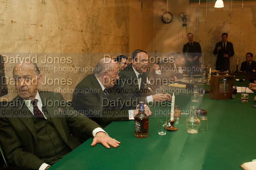 JOHN STANDING; SIR MICHAEL GAMBON; A.A.GILL, The English Gentleman at the  The Cabinet War Rooms, supported by Chivas deluxe blended Scotch whisky. Whitehall. London. 7 January 2013.