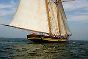 Pride of Baltimore II racing in the Skyline Race at New York Classic Week. Statue of Liberty in the background