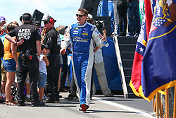 July 29, 2018 - Long Pond, PA, U.S. - LONG POND, PA - JULY 29:  Monster Energy NASCAR Cup Series driver Michael McDowell Dockside Logistics Ford (34) during driver introductions prior to the Monster Energy NASCAR Cup Series - 45th Annual Gander Outdoors 400 on July 29, 2018 at Pocono Raceway in Long Pond, PA. (Photo by Rich Graessle/Icon Sportswire) (Credit Image: © Rich Graessle/Icon SMI via ZUMA Press)