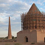 A mausoleum and minaret are among the few remaining buildings in the ruins of Konye-Urgench, Turkmenistan