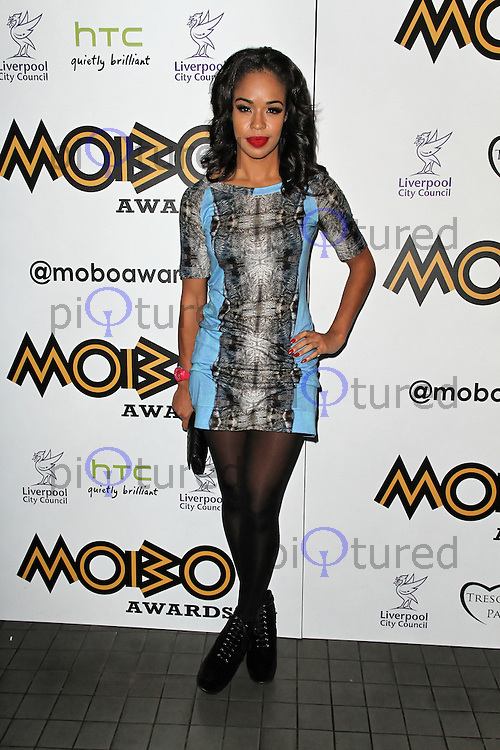 LONDON - SEPTEMBER 17: Sarah-Jane Crawford attended the Nominations Launch of the MOBO Awards at Floridita London, UK. September 17, 2012. (Photo by Richard Goldschmidt)