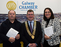 At the launch of the 'Work Experience agreement' between the Galway Chamber of Commerce (GCC) and Galway City Partnership, (GCP) were Tommy Flaherty Chairperson (GCP), Conor O'Dowd, President Galway Chamber, Helen Kelly Dohas don Oige Training Centre  .Photo:Andrew Downes, xposure