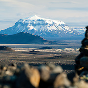 Stone cairns with Mount Heidubreid in the background, Iceland