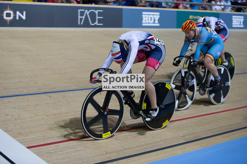 Laura Trott wins an interim sprint in the Women's Omnium Points Race at the Revoultion Series 2015/6 Round 1 Derby, Day 3, on 16 August 2015 ( (Photo by Mike Poole - Photopoole)