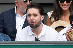 © Licensed to London News Pictures. 12/07/2018. London, UK. Alexis Ohanian watches his wife Serena William's of the United States of America play Julia Goerges of Germany in the women's semi-finals round singles draw of the Wimbledon Tennis Championships 2018, at the All England Lawn Tennis and Croquet Club. Photo credit: Ray Tang/LNP