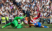 Atletico Madrid´s French forward Antoine Griezmann and Real Madrid´s Costa Rican goalkeeper Keylor Navas during the Spanish championship Liga football match between Real Madrid and Atletico Madrid on April 8, 2017 at Santiago Bernabeu stadium in Madrid, Spain - Photo Rudy / SpainProSportsImages / DPPI / ProSportsImages / DPPI