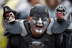 November 7, 2010; Oakland, CA, USA;  An Oakland Raiders fan during the first quarter against the Kansas City Chiefs at Oakland-Alameda County Coliseum.