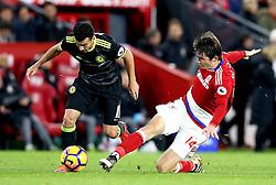 Pedro of Chelsea goes past Marten de Roon of Middlesbrough - Mandatory by-line: Robbie Stephenson/JMP - 20/11/2016 - FOOTBALL - Riverside Stadium - Middlesbrough, England - Middlesbrough v Chelsea - Premier League