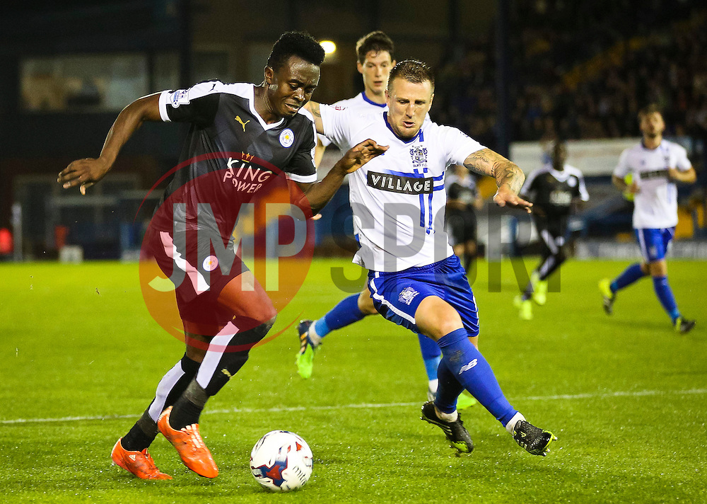Joe Dodoo of Leicester City attacks - Mandatory byline: Matt McNulty/JMP - 07966386802 - 25/08/2015 - FOOTBALL - Gigg Lane -Bury,England - Bury v Leicester City - Capital One Cup - Second Round