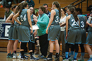 South Burlington head coach Sheila Burleigh talks to the team during a time out in the girls basketball game between the South Burlington Rebels and the Burlington Sea Horses at Burlington High School on Tuesday night Febraury 2, 2016 in Burlington. (BRIAN JENKINS/for the FREE PRESS)