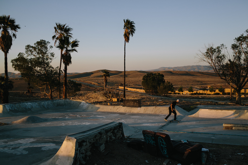 Nick Martinez, 31, skates at Kern Side, an little known skate park in the foothills outside of Bakersfield, California.