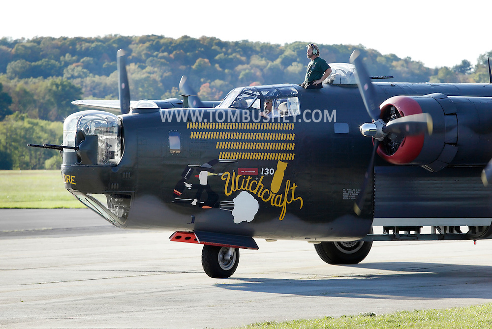 Montgomery, New York - A B-24 Liberator bomber from Collings Foundation taxis on a runway before taking off from at Orange County Airport on Oct. 2, 2010.