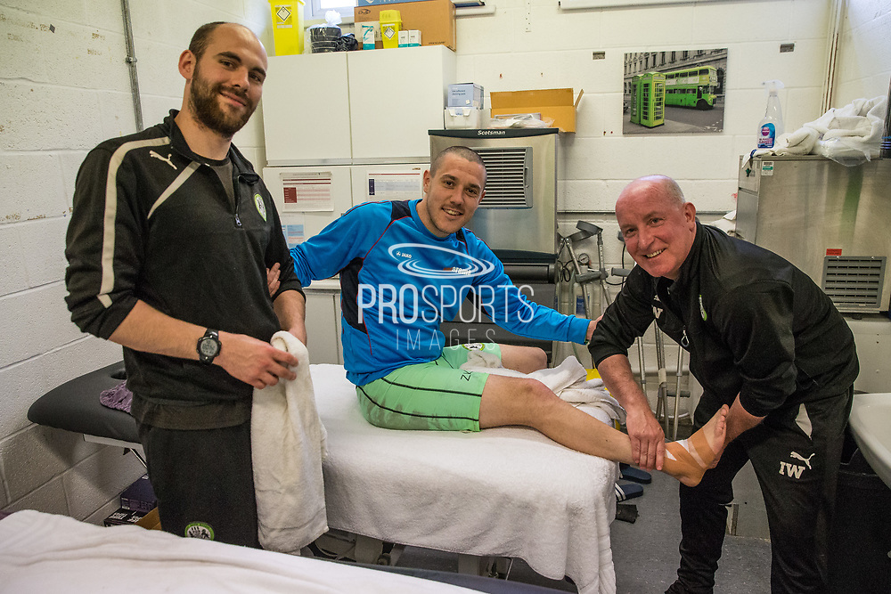 Forest Green Rovers Liam Noble(15) in the treatment room during the Vanarama National League match between Forest Green Rovers and Chester FC at the New Lawn, Forest Green, United Kingdom on 14 April 2017. Photo by Shane Healey.