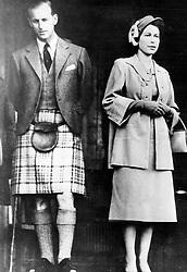 Feb. 6, 1952 - Braemar, Scotland, U.K. - The elder daughter of King George VI and Queen Elizabeth, ELIZABETH WINDSOR (named Elizabeth II) became Queen at the age of 25, and has reigned through more than five decades of enormous social change and development. PICTURED: QUEEN ELIZABETH II and PRINCE PHILIP Duke of Edinburgh during Scottish celebration Braemar Highland Gathering.  (Credit Image: © Keystone Press Agency/Keystone USA via ZUMAPRESS.com)