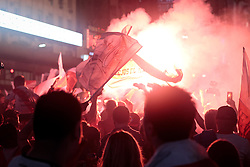 December 9, 2018 - Buenos Aires, Argentina - Fans of River Plate celebrate after winning the second leg of the final match of Copa CONMEBOL Libertadores 2018 between River Plate and Boca Juniors at Obelisco monument on December 9, 2018 in Buenos Aires, Argentina  (Credit Image: © Federico Rotter/NurPhoto via ZUMA Press)