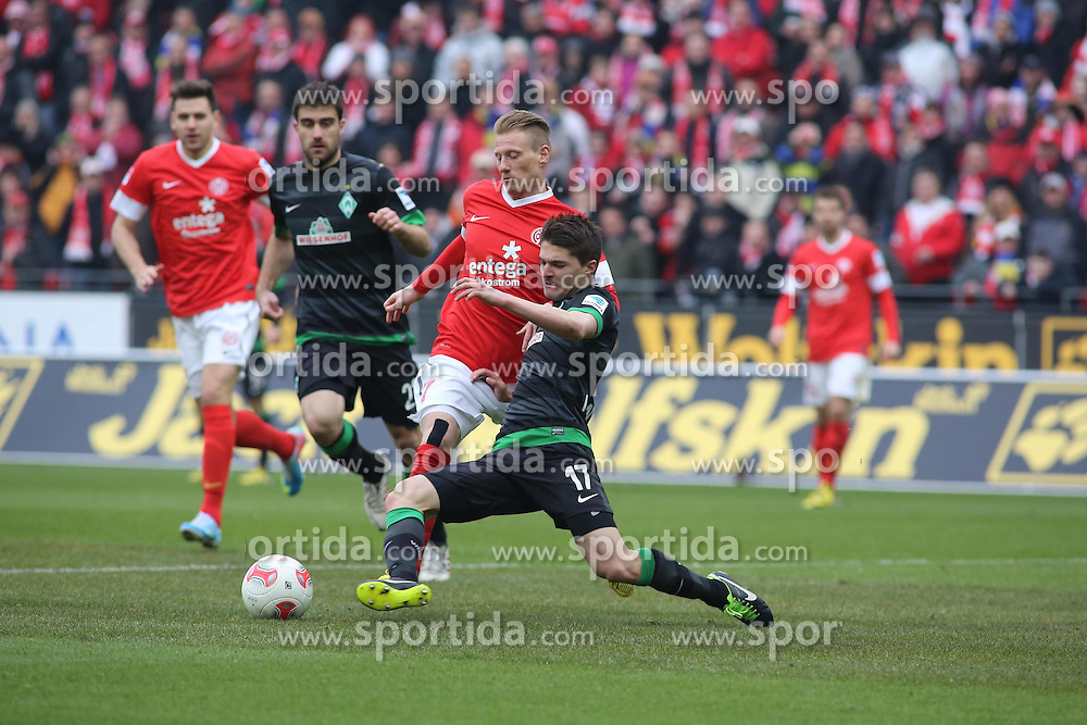 30.03.2013, Coface Arena, Mainz, GER, 1. FBL, 1. FSV Mainz 05 vs SV Werder Bremen, 27. Runde, im Bild v.l.: Niki Zimling (MZ) gegen Aleksandar Ignjovski (Bremen) // during the German Bundesliga 27th round match between 1. FSV Mainz 05 and SV Werder Bremen at the Coface Arena, Mainz, Germany on 2013/03/30. EXPA Pictures © 2013, PhotoCredit: EXPA/ Eibner/ Neurohr ***** ATTENTION - OUT OF GER *****
