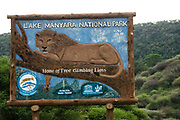 Welcome sign to Lake Manyara National Park. Home of the tree climbing lions, Lake Manyara, Arusha, Tanzania,